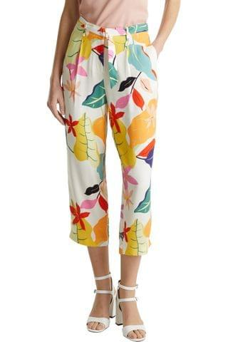 WOMEN Esprit Natural Printed Cropped Belted Coulot Pants