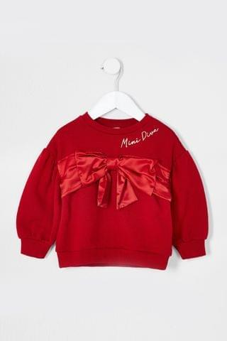 KIDS River Island Red Satin Bow Sweater
