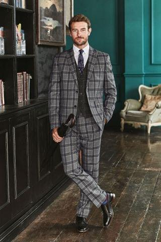 MEN Light Grey Check Tailored Fit Suit