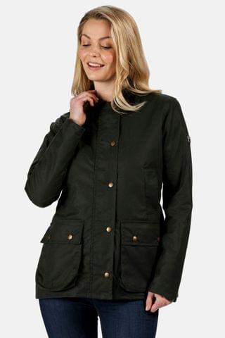 WOMEN Regatta Green Lady Country Wax Jacket