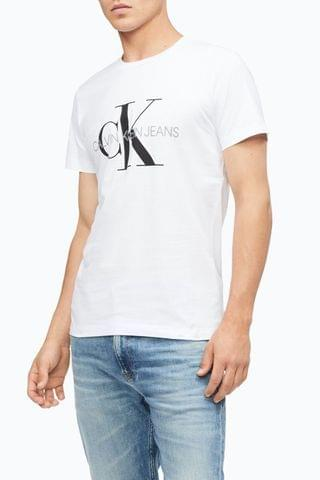 MEN Calvin Klein Jeans White Iconic Monogram Slim Fit T-Shirt
