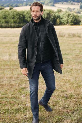 MEN Charcoal Funnel Neck Coat With Removable Gilet