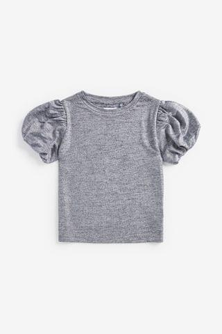KIDS Silver Party Bubble Sleeve Top (3-16yrs)