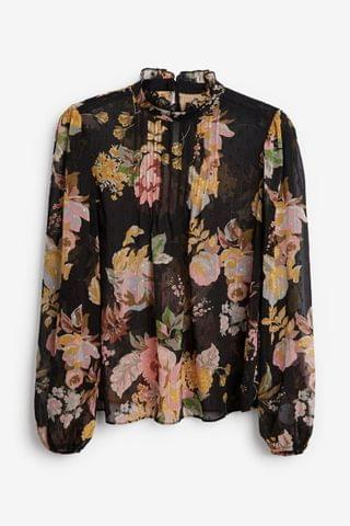 WOMEN Black Floral Ruffle Neck Blouse
