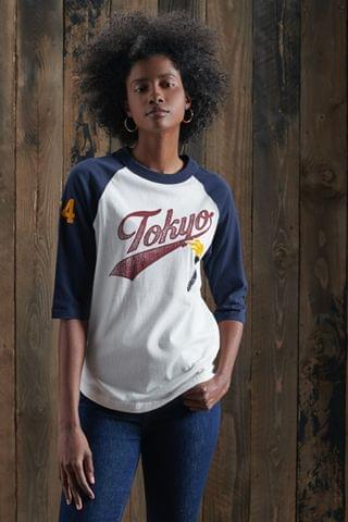 WOMEN Superdry Team Varsity Baseball Top
