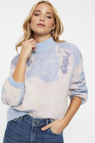 WOMEN Pieces Abstract Print Knitted Jumper