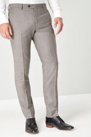 MEN Taupe Empire Mills Signature British Wool Flannel Suit Trousers