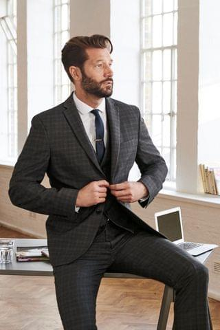 MEN Grey Check Suit Trousers