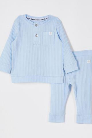 KIDS River Island Blue Light Rib Grandad Legging Set