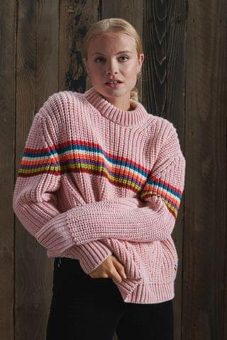 WOMEN Superdry Neon Stripe Ribbed Crew Neck Jumper