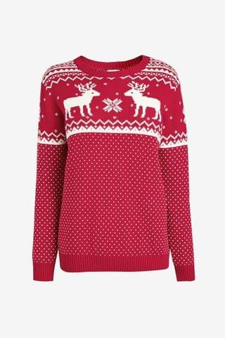 KIDS The Little Tailor Ladies Red Reindeer Christmas Jumper