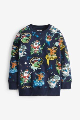 KIDS Navy Christmas Print Crew Neck Sweater (3-16yrs)