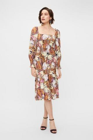 WOMEN Y.A.S Sustainable Floral Abeila Organic Cotton Smock Dress