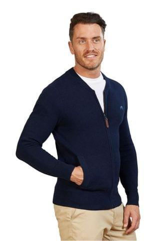 MEN Raging Bull Blue Zip Thru Cardigan