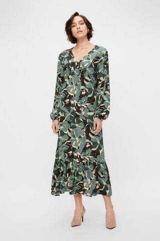 WOMEN Y.A.S Sustainable Green Floral Print Rainforest Maxi Dress