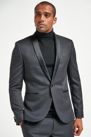 MEN Black Puppytooth Check Suit Jacket
