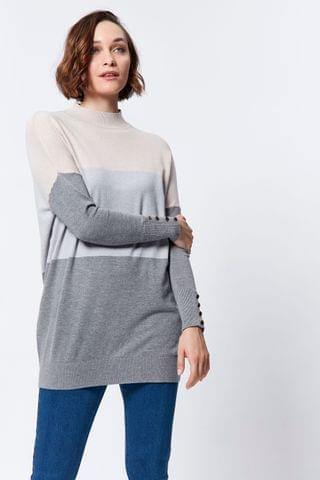 WOMEN M&Co Block Stripe Tunic Jumper