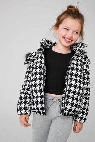 KIDS Monochrome Dogtooth Shower Resistant Padded Jacket (3-16yrs)
