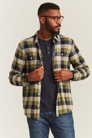 MEN FatFace Green Watton Check Shirt