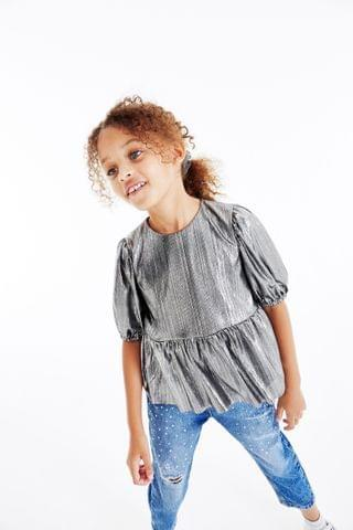 KIDS Silver Puff Sleeve Metallic Party Top (3-16yrs)