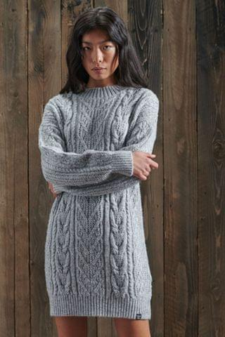 WOMEN Superdry Florence Cable Knit Dress
