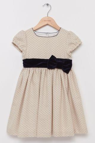 KIDS Trotters London Gold Hetty Bow Party Dress