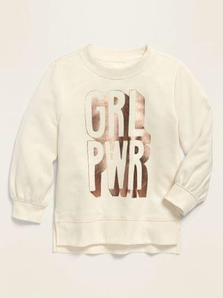 KIDS Graphic Balloon-Sleeve French Terry Sweatshirt for Toddler Girls