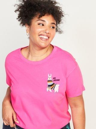 WOMEN Loose-Fit Christmas Graphic Plus-Size Easy Tee