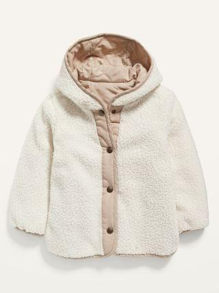 KIDS Unisex Hooded Reversible Quilted Sherpa-Lined Jacket for Toddler