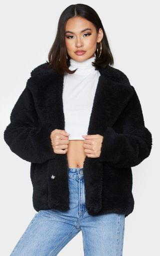 WOMEN Black Faux Fur Popper Button Down Jacket