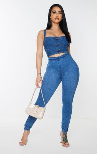 WOMEN Shape Mid Blue Wash Zip Detail V Front Skinny Jeans