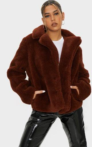 WOMEN Brown Faux Fur Popper Button Down Jacket