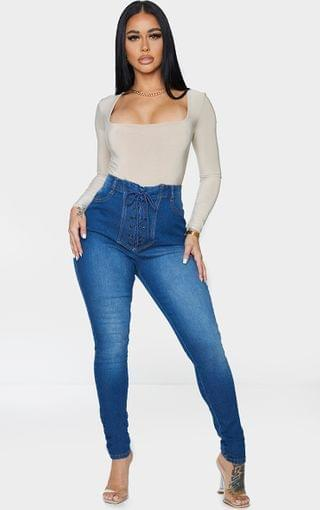 WOMEN Shape Mid Blue Wash Lace Up Front Skinny Jeans