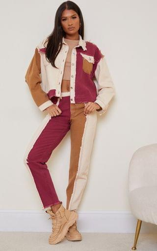 WOMEN Tan Frayed Patchwork Mom Jeans
