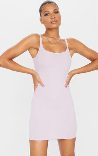 WOMEN Lilac Ribbed Scoop Neck Bodycon Dress