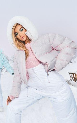WOMEN PRETTYLITTLETHING Ski Pastel Pink Faux Fur Hooded Puffer Coat