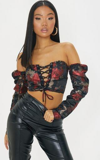 WOMEN Petite Black Floral Lace Up Puff Sleeve Blouse