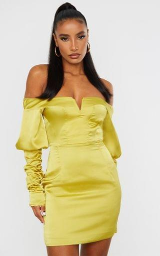 WOMEN Chartreuse Satin Bardot V Bar Ruched Sleeve Bodycon Dress