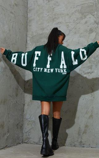 WOMEN Petite Dark Green Buffalo New York Slogan Sweater Dress