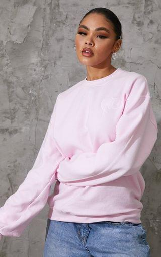 WOMEN PRETTYLITTLETHING Baby Pink Heart Embroidered Sweater