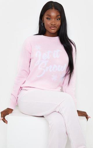WOMEN Tall Baby Pink Let It Snow Xmas Sweater