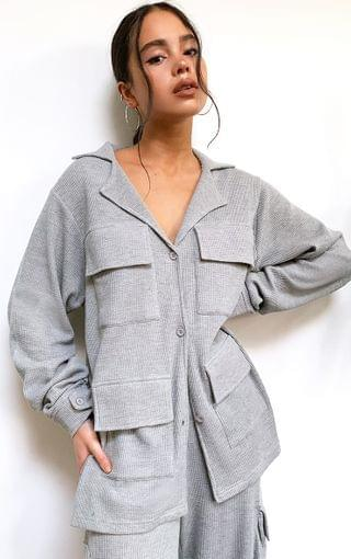 WOMEN Grey Waffle Double Pocket Detail Longline Shirt Jacket