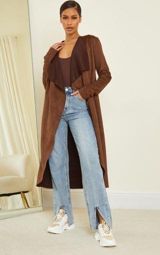 WOMEN Chocolate Faux Suede Waterfall Maxi Duster Jacket