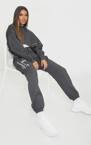 WOMEN PRETTYLITTLETHING Charcoal Grey Branded Archive Printed Joggers