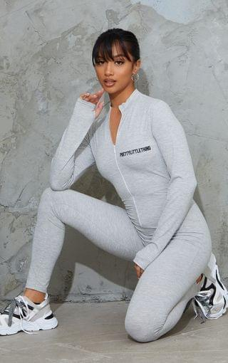 WOMEN PRETTYLITTETHING Petite Grey Marl Embroidered Zip Front Jumpsuit