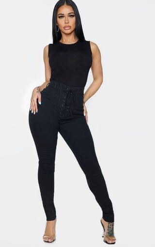 WOMEN Shape Black Lace Up Front Skinny Jeans