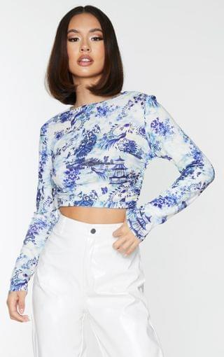 WOMEN White Print Jersey Ruched Side Long Sleeve Crop Top