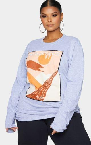 WOMEN Plus Grey Mount Fuji Printed Long Sleeve T-Shirt