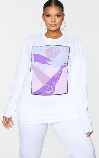 WOMEN Plus White Mount Fuji Printed Long Sleeve T-Shirt