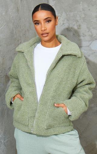 WOMEN Sage Green Borg Zip Up Oversized Jacket